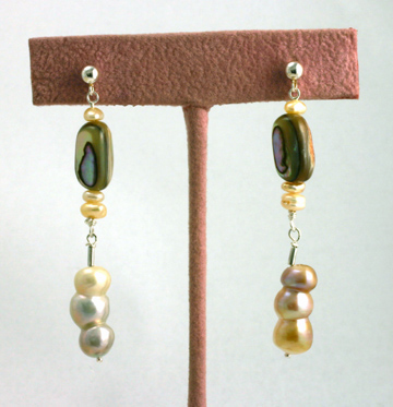 Sterling Silver Dangling post earrings, freshwater pearls, abalone