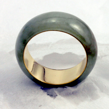 green jadeite jade and 18 K Gold Eternal Band # 9728