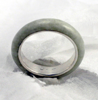 pale green jadeite jade and fine silver eternal band # 9813